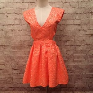 Neon Floral Brocade Fit & Flare Cut Out Sides